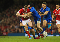 1st February 2020; Millennium Stadium, Cardiff, Glamorgan, Wales; International Rugby, Six Nations Rugby, Wales versus Italy; Nick Tompkins of Wales is tackled by Carlo Canna and Tommaso Allan of Italy