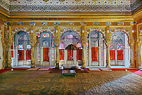 Phool Mahal, the grandest of Mehrangarh's period rooms, Mehrangarh Fort, Jodhpur, India.