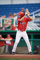 Batavia Muckdogs left fielder Davis Bradshaw (27) at bat during a game against the Auburn Doubledays on September 2, 2018 at Dwyer Stadium in Batavia, New York.  Batavia defeated Auburn 5-4.  (Mike Janes/Four Seam Images)