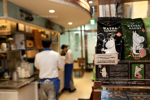 Tokyo, Japan - The Moomin House Cafe sells food and goods at TOKYO SKYTREE on June 17, 2014. There are three Moomin Cafe in Japan, serving food and desserts in the form of the Finnish character. This year is the 100th anniversary of the birth of their creator Tove Jansson (1914 - 2001). (C) Moomin CharactersTM. (Photo by Rodrigo Reyes Marin/AFLO)