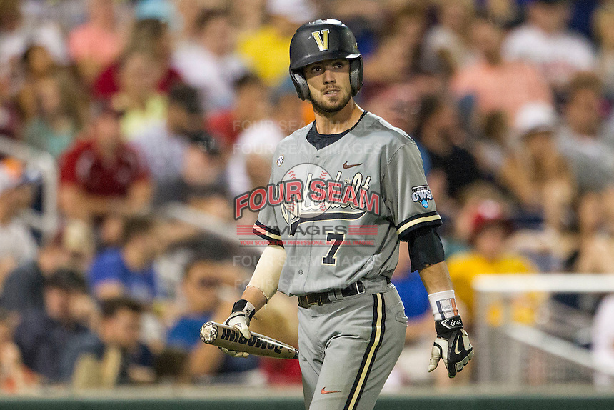Vanderbilt Commodores shortstop Dansby Swanson (7) during the NCAA College baseball World Series against the TCU Horned Frogs on June 16, 2015 at TD Ameritrade Park in Omaha, Nebraska. Vanderbilt defeated TCU 1-0. (Andrew Woolley/Four Seam Images)