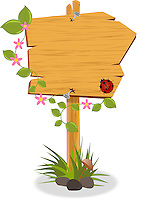 Vector illustration of a wooden signboard, with spring flowers and twining plant wrapped around it and ladybird climbing.<br /> <br /> This image is also available as scalable EPS(vector) and PNG(transparent background) format.