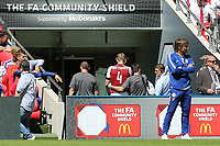 Arsenal's Per Mertesacker leaves the field in the first half with a head injury during Arsenal vs Chelsea, FA Community Shield Football at Wembley Stadium on 6th August 2017