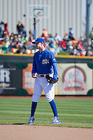 Ryan Jackson (8) of the Omaha Storm Chasers during the game against the Memphis Redbirds in Pacific Coast League action at Werner Park on April 22, 2015 in Papillion, Nebraska.  (Stephen Smith/Four Seam Images)