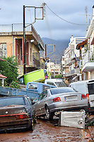 Pictured: Cars piled on top of others in Messini, near the town of Kalamata, Messinia, Greece. Wednesday 07 September 2016<br /> Re: Severe flash flooding has affected parts of Messinia County in southern Greece.