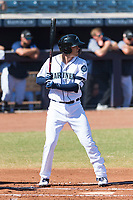 Peoria Javelinas first baseman Evan White (15), of the Seattle Mariners organization, at bat during an Arizona Fall League game against the Glendale Desert Dogs at Peoria Sports Complex on October 22, 2018 in Peoria, Arizona. Glendale defeated Peoria 6-2. (Zachary Lucy/Four Seam Images)