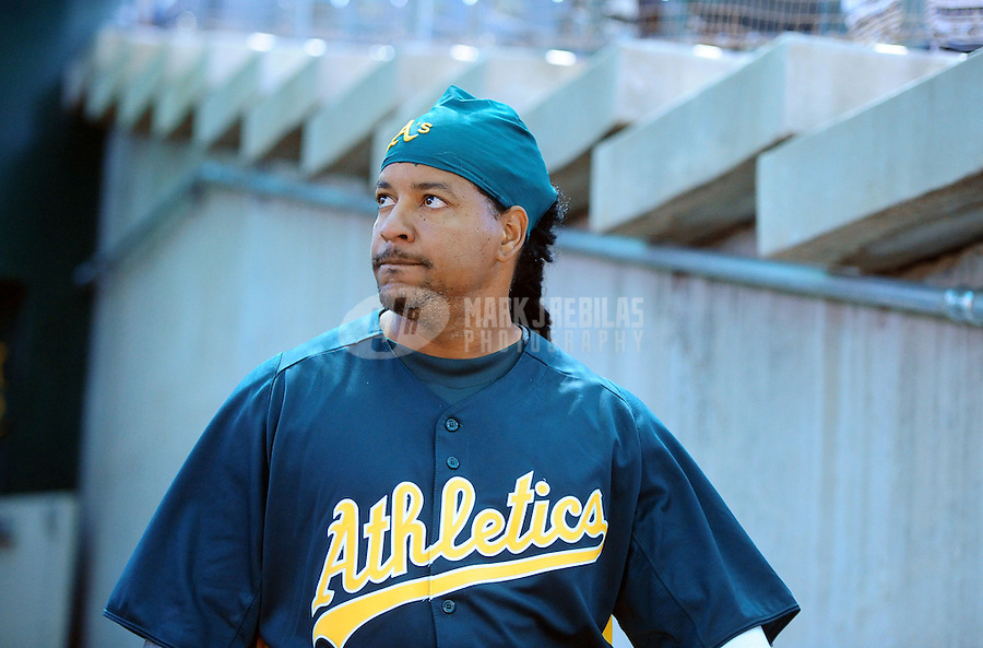 Mar. 19, 2012; Phoenix, AZ, USA; Oakland Athletics designated hitter Manny Ramirez prior to the game against the Arizona Diamondbacks during a spring training game at Phoenix Municipal Stadium.  Mandatory Credit: Mark J. Rebilas-