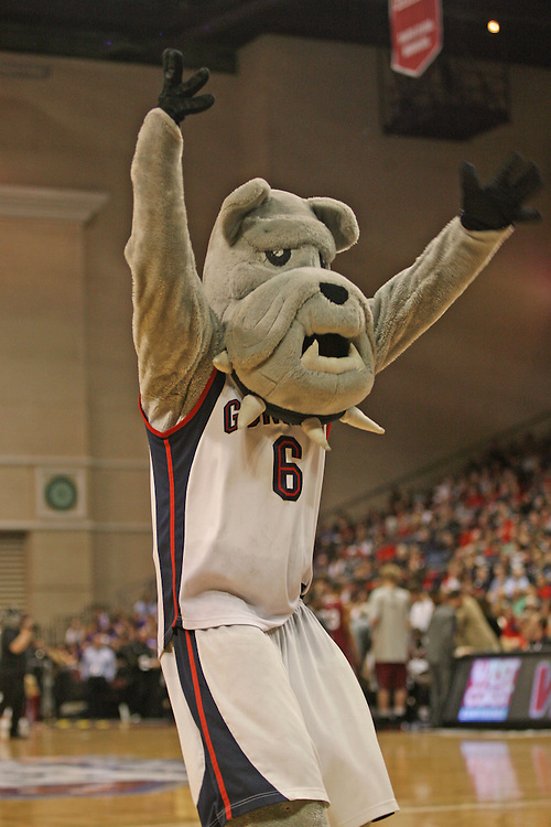 LAS VEGAS, NV - MARCH 7:  The Gonzaga mascot during the Gonzaga Bulldogs 77-62 win over Loyola Marymount in the WCC Basketball Tournament on March 7, 2010 at Orleans Arena in Las Vegas Nevada.
