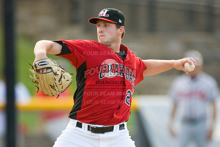 Relief pitcher Chad Bell #25 of the Hickory Crawdads in action against the Rome Braves at  L.P. Frans Stadium May 23, 2010, in Hickory, North Carolina.  The Rome Braves defeated the Hickory Crawdads 5-1.  Photo by Brian Westerholt / Four Seam Images