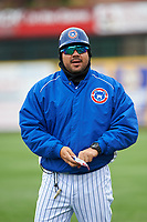 South Bend Cubs coach Pedro Gonzalez (17) during a Midwest League game against the Cedar Rapids Kernels at Four Winds Field on May 8, 2019 in South Bend, Indiana. South Bend defeated Cedar Rapids 2-1. (Zachary Lucy/Four Seam Images)