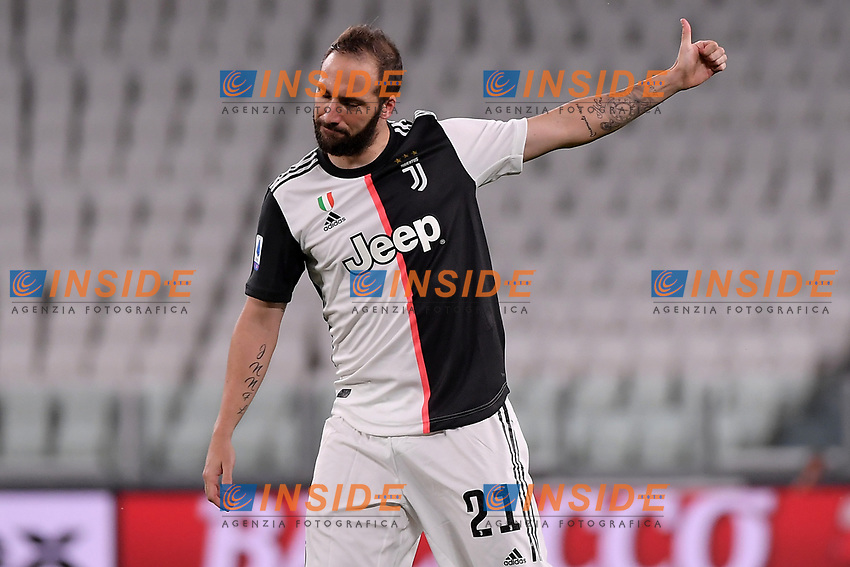 Gonzalo Higuain of Juventus reacts during the Serie A football match between Juventus FC and UC Sampdoria at Juventus stadium in Turin (Italy), July 26th, 2020. Play resumes behind closed doors following the outbreak of the coronavirus disease. <br /> Photo Federico Tardito / Insidefoto