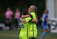 Seattle, WA - Saturday July 23, 2016: Nahomi Kawasumi, Lindsay Elston during a regular season National Women's Soccer League (NWSL) match between the Seattle Reign FC and the Orlando Pride at Memorial Stadium.