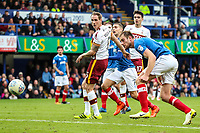 Matt Kilgallon of Bradford City scores with a header in the 80th minute during the Sky Bet League 1 match between Portsmouth and Bradford City at Fratton Park, Portsmouth, England on 28 October 2017. Photo by Thomas Gadd.