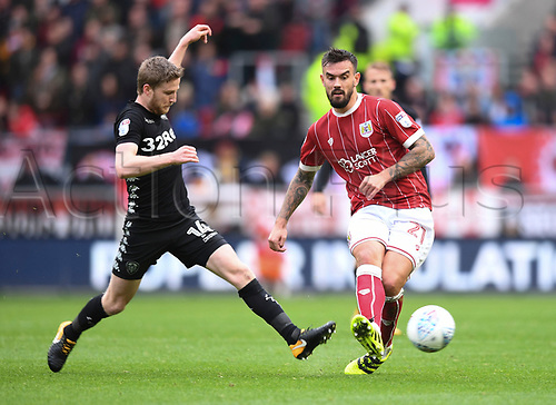 21st October 2017, Ashton Gate, Bristol, England; EFL Championship football, Bristol City versus Leeds United; Stuart Dallas of Leeds United tackles Marlon Pack of Bristol City