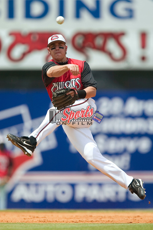 Carolina Mudcats second baseman Kevin Randel makes an off balance throw to first base versus the Tennessee Smokies at Five County Stadium in Zebulon, NC, Sunday, July 2, 2006.  The Mudcats defeated the Smokies 4-0.