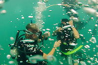 19 February, 2013 - Koh Rong (Sihanoukville). One of the trainee divers gets his first lesson in scuba diving in the open ocean. © Thomas Cristofoletti / Ruom