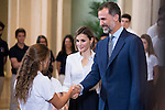 King Felipe VI of Spain and Queen Letizia of Spain attends a reception to the students participating in the X edition of the program &quot;Scholarships Europe&quot; at the University Francisco de Vitoria at Zarzuela Palace in Madrid, July 17. 2015.<br />  (ALTERPHOTOS/BorjaB.Hojas)
