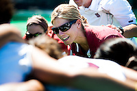 STANFORD, CA - SEPTEMBER 6: First-year coach Tara Danielson addresses her team before competition against Michigan State on September 6, 2010 in Stanford, California.