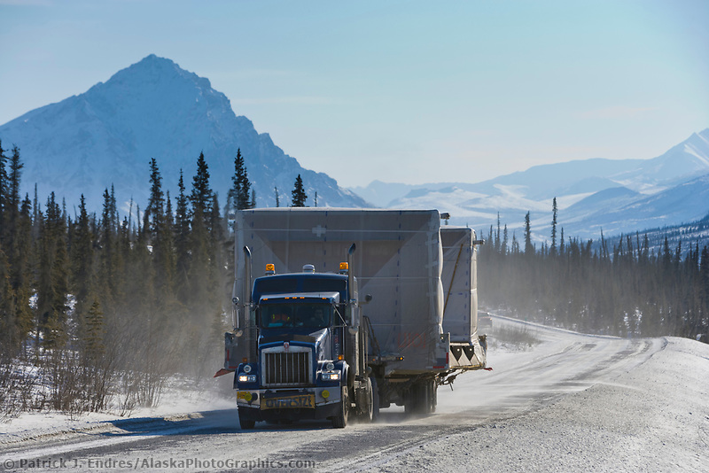 Oversize load on the James Dalton Highway, (Haul Road), arctic, Alaska.