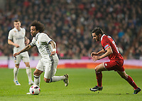 Real Madrid´s Brazilian defense Marcelo and Sevilla´s Sarabia during the Copa del Rey soccer match between Real Madrid and Sevilla played at the Santiago Bernabéu stadium in Madrid, on January 4th 2017.