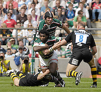 Twickenham, Great Britain. Tigers, Seru RABNI, supported by Ben KAY, tries to go through the gap, Josh LEWSEY get's in the low tackle and Lawrence DALLAGLIO, closes the gap, during the 2007 Heineken Cup Final, between Leicester Tigers and London Wasps. RFU Stadium, London,  Sun 20.05.2007. [Credit: Peter Spurrier/Intersport Images]   [Mandatory Credit, Peter Spurier/ Intersport Images].