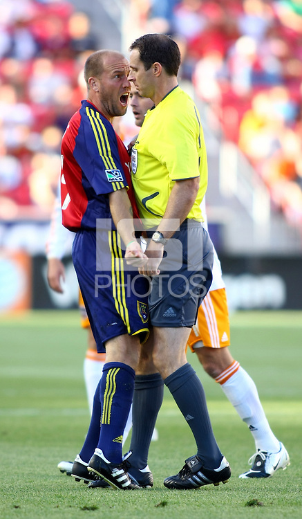 Clint Mathis and Paul Ward in the Real Salt Lake v Houston 0-0 draw win at Rio Tinto Stadium in Sandy, Utah on August 15, 2009