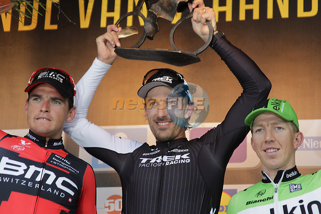 Fabian Cancellara (SUI) Trek Factory Racing wins with Greg Van Avermaet (BEL) BMC Racing Team in 2nd place and Sep Vanmarcke (BEL) Belkin Pro Cycling 3rd the 2014 Tour of Flanders, Oudenaarde, Belgium.<br /> Picture: Eoin Clarke www.newsfile.ie