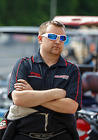 May 15, 2016; Commerce, GA, USA; NHRA top fuel driver Kyle Wurtzel during the Southern Nationals at Atlanta Dragway. Mandatory Credit: Mark J. Rebilas-USA TODAY Sports