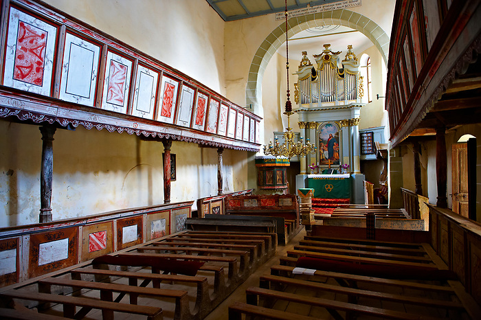 The interior of the Szekly medieval fortified church of Viscri, Buneşti, Braşov, Transylvania. Started in the 1100's.  UNESCO World Heritage Site
