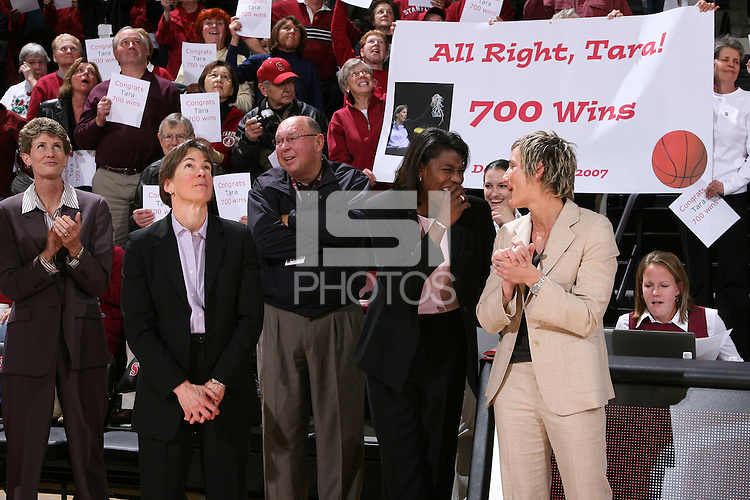 28 December 2007: Amy Tucker, Tara Vanderveer, Bobby Kelsey and Kate Paye after Stanford's 105-47 win over Washington State at Maples Pavilion in Stanford, CA.