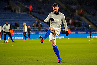 9th March 2020; King Power Stadium, Leicester, Midlands, England; English Premier League Football, Leicester City versus Aston Villa; Jonny Evans of Leicester City warms-up prior to the match