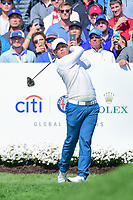 Si Woo Kim (KOR) watches his tee shot on 4 during round 3 Four-Ball of the 2017 President's Cup, Liberty National Golf Club, Jersey City, New Jersey, USA. 9/30/2017.<br /> Picture: Golffile | Ken Murray<br /> <br /> All photo usage must carry mandatory copyright credit (&copy; Golffile | Ken Murray)