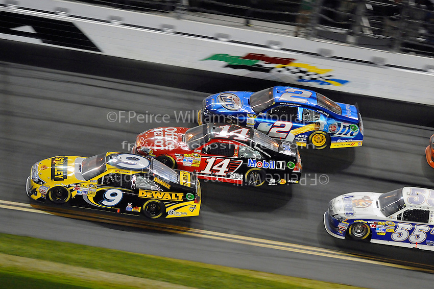 Marcos Ambrose (#9), Tony Stewart (#14), Brad Keselowski (#2) and Mark Martin (#55).