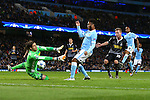 Raheem Sterling of Manchester City goes close with a shot but sees it saved by Yann Sommer of Monchengladbach - Manchester City vs Monchengladbach - UEFA Champions League - Etihad Stadium - Manchester - 08/12/2015 Pic Philip Oldham/SportImage