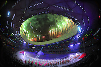 Aug. 8, 2008; Beijing, CHINA; Fireworks explode over the stadium during the opening ceremonies for the 2008 Beijing Olympic Games at the National Stadium. Mandatory Credit: Mark J. Rebilas-