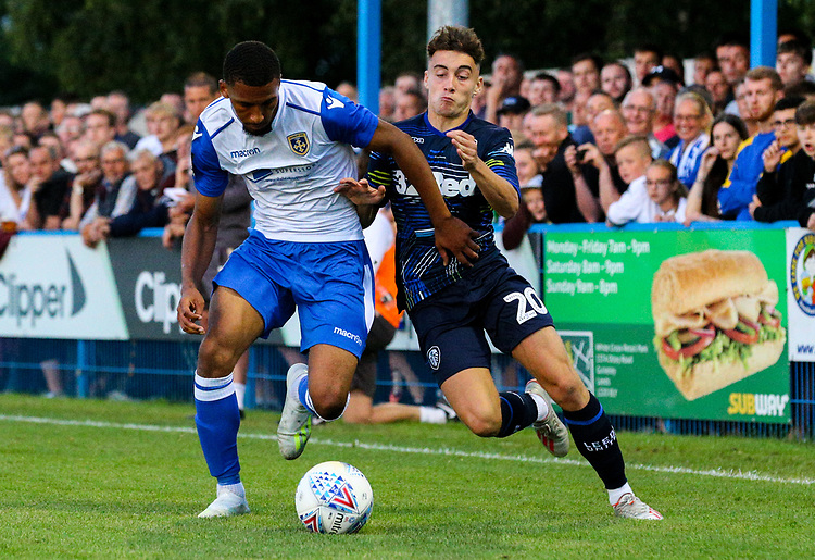 Leeds United's Niall Huggins in action<br /> <br /> Photographer Alex Dodd/CameraSport<br /> <br /> Football Pre-Season Friendly - Guiseley v Leeds United - Thursday July 11th 2019 - Nethermoor Park - Guiseley<br /> <br /> World Copyright © 2019 CameraSport. All rights reserved. 43 Linden Ave. Countesthorpe. Leicester. England. LE8 5PG - Tel: +44 (0) 116 277 4147 - admin@camerasport.com - www.camerasport.com