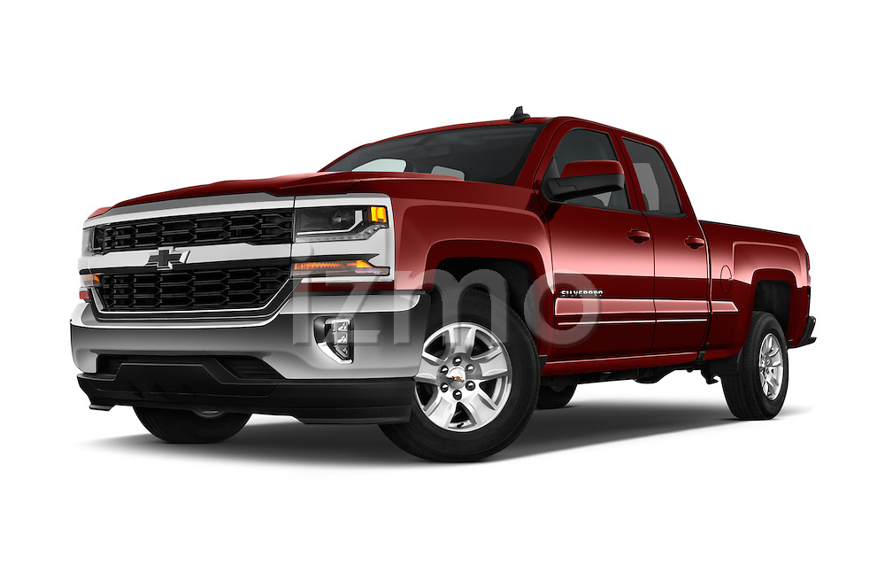 Stock pictures of low aggressive front three quarter view of 2016 Chevrolet Silverado-1500 LT-Double-Cab-Std-Box 4 Door Pick-up Low Aggressive