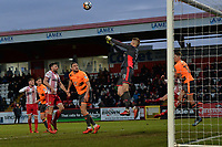 Anssi Jaakkola of Reading clears a cross during Stevenage vs Reading, Emirates FA Cup Football at the Lamex Stadium on 6th January 2018