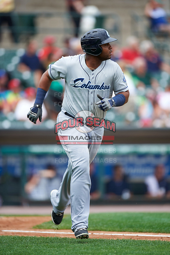 Columbus Clippers first baseman Jesus Aguilar (30) runs to first during a game against the Rochester Red Wings on June 16, 2016 at Frontier Field in Rochester, New York.  Rochester defeated Columbus 6-2.  (Mike Janes/Four Seam Images)