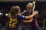 UEFA Women's Champions League 2018/2019.<br /> Quarter Finals.<br /> FC Barcelona vs LSK Kvinner FK: 3-0.<br /> Lieke Martens & Toni Duggan.