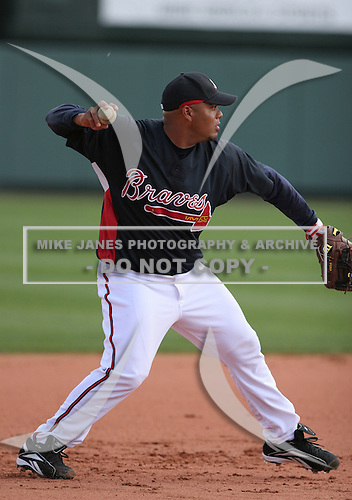Brayan Pena  of the Atlanta Braves vs. the St. Louis Cardinals March 16th, 2007 at Champion Stadium in Orlando, FL during Spring Training action.  Photo copyright Mike Janes Photography 2007.