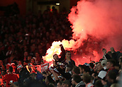 14th September 2017, Emirates Stadium, London, England; UEFA Europa League Group stage, Arsenal versus FC Cologne; FC Koln fans set of flares after Jhon Cordoba of FC Koln scores in the 9th minute, 0-1 FC Koln