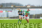 Kerry's Sarah Houlihan is tracked by Mayo's Orla Conlon in their LIDL League match in Fitzgerald Stadium on Sunday.