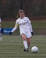 Boston College defender Hannah Cerrone (11) slots pass forward. Boston College defeated Hofstra University, 3-1, in second round NCAA tournament match at Newton Soccer Field, Newton, MA.