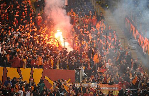 25.02.2016. Stadio Olimpico, Rome, Italy. Uefa Europa League, Return leg of SS Lazio versus Galatasaray. Fans of Galatasaray light flares