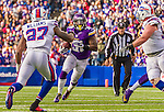 19 October 2014: Minnesota Vikings running back Jerick McKinnon rushes for yardage in the fourth quarter against the Buffalo Bills at Ralph Wilson Stadium in Orchard Park, NY. The Bills defeated the Vikings 17-16 in a dramatic, last minute, comeback touchdown drive. Mandatory Credit: Ed Wolfstein Photo *** RAW (NEF) Image File Available ***