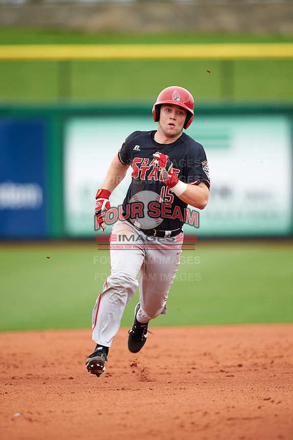 Ball State Cardinals Trent Theisen (15) running the bases during a game against the Alabama State Hornets on February 18, 2017 at Spectrum Field in Clearwater, Florida.  Ball State defeated Alabama State 3-2.  (Mike Janes/Four Seam Images)