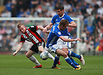 Mark Duffy of Sheffield Utd muscled out by Lukas Jutkiewicz of Birmingham City during the championship match at St Andrews Stadium, Birmingham. Picture date 21st April 2018. Picture credit should read: Simon Bellis/Sportimage