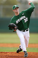 February 22, 2009:  Pitcher Kyle Corcoran (32) of Michigan State University during the Big East-Big Ten Challenge at Naimoli Complex in St. Petersburg, FL.  Photo by:  Mike Janes/Four Seam Images