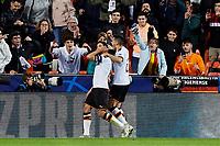 5th November 2019; Mestalla, Valencia, Spain; UEFA Champions League Football, Valencia versus Lille; Dani Parejo of Valencia CF celebrates  after scoring the equalizer goal for his team (1-1) in minute 66' - Editorial Use